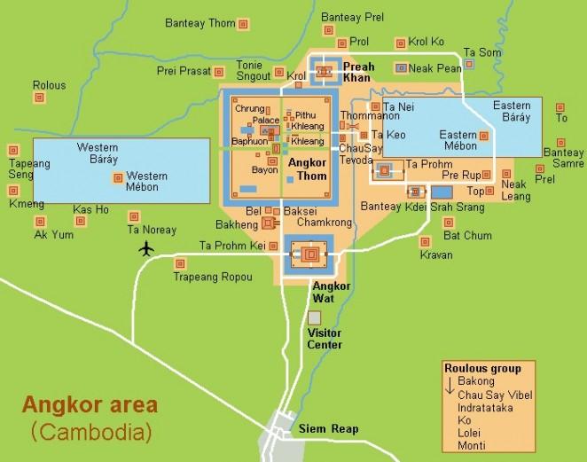 Карта храмового комплекса Ангкора