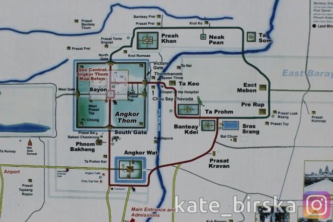 Карта Ангкор Вата, Ангкор, Камбоджа