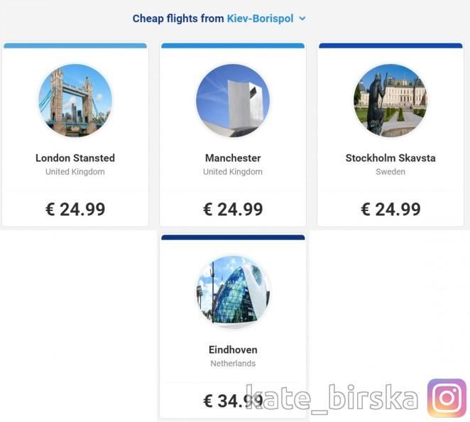 Ryanair вылеты из Киева