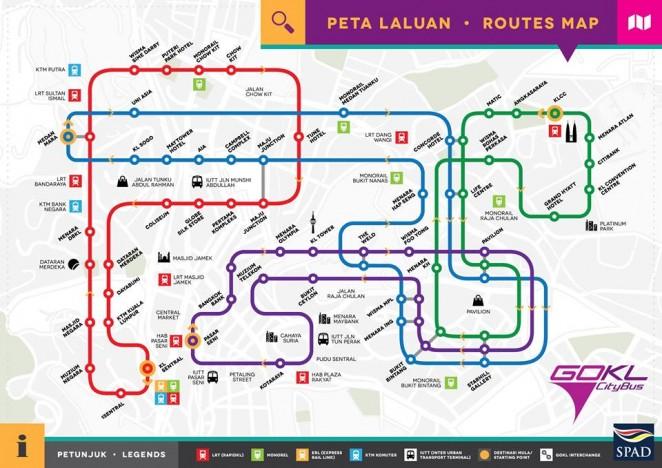 Карта бесплатных автобусов в Куала-Лумпуре, Малайзия
