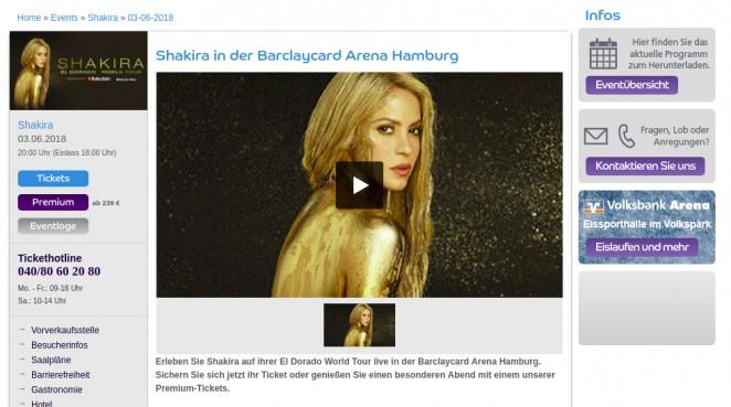 Songkick, Шакира в Гамбурге, Германия